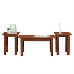Pemberly Row 3 Piece Coffee Table Set in Brook Cherry