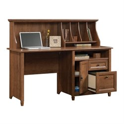 Pemberly Row Computer Desk with Hutch in Auburn Cherry