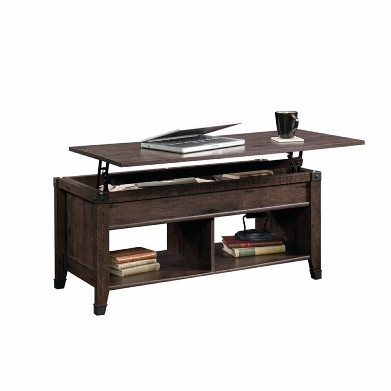 Pemberly Row Lift Top Coffee Table In Coffee Oak Pr 1464384