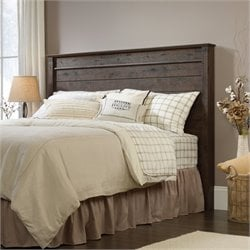Pemberly Row Full Queen Panel Headboard in Coffee Oak