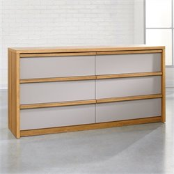 Pemberly Row 6 Drawer Dresser in Pale Oak with Moccasin