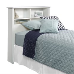 Pemberly Row Twin Bookcase Headboard in Soft White
