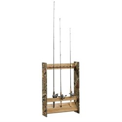 Pemberly Row Fishing Rod Rack in Scribed Oak