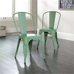 Pemberly Row Cafe Dining Chair in Matte Green (Set of 2)