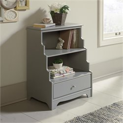 Pemberly Row 2 Shelf Accent Bookcase in Gray