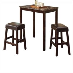 Pemberly Row 3 Piece Counter Height Set in Espresso