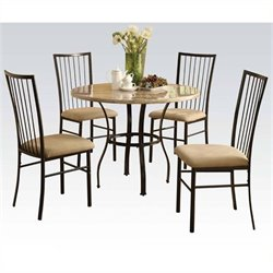 Pemberly Row 5 Piece Dining Set in White