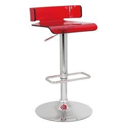 Pemberly Row Swivel Adjustable Bar Stool in Red