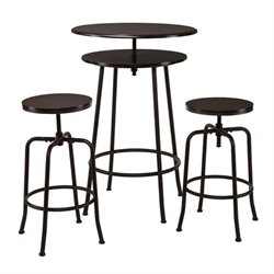Pemberly Row 3 Piece Pub Set in Espresso