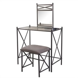 Pemberly Row 2 Piece Metal Vanity Set with Glass Top