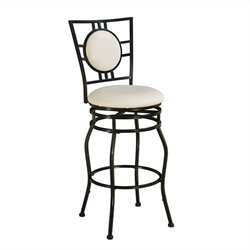 Pemberly Row Adjustable Faux Leather Swivel Bar Stool in Black