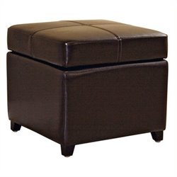 Pemberly Row Square Leather Storage Ottoman in Dark Brown