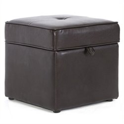 Pemberly Row Faux Leather Cube Storage Ottoman in Dark Brown