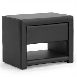 Pemberly Row Faux Leather Nightstand in Black