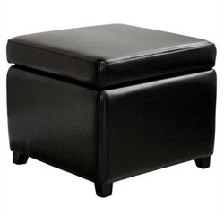 Pemberly Row Square Leather Storage Ottoman in Black
