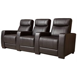 Pemberly Row 3 Seat Leather Reclining Home Theater Seating in Black