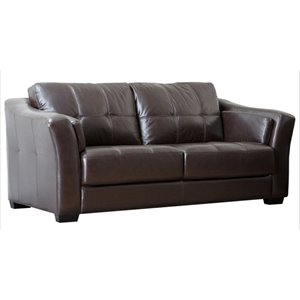 Pemberly Row Premium Leather Sofa in Brown