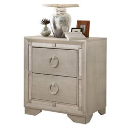 Pemberly Row 2 Drawer Mirrored Nightstand in Gray