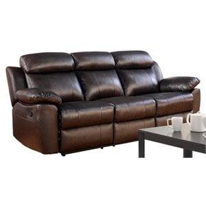 Pemberly Row Leather Reclining Sofa in Brown