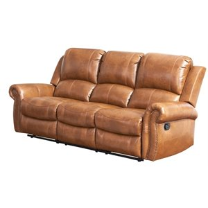 Pemberly Row Faux Leather Reclining Sofa in Brown