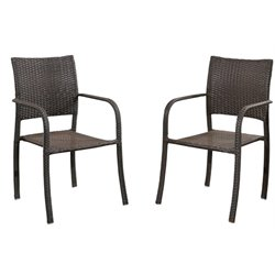 Pemberly Row Patio Dining Chair in Espresso (Set of 2)
