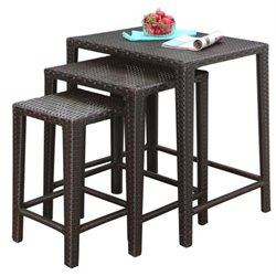 Pemberly Row 3 Piece Patio Nesting Table Set in Espresso