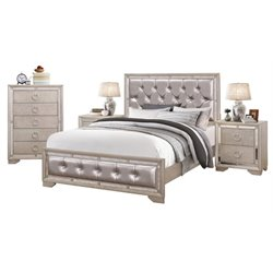 MER-1396 4 Piece Leather Panel Bedroom Set in Silver