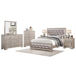 MER-1396 6 Piece Leather Panel Bedroom Set in Silver
