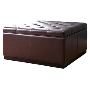 Pemberly Row Square Faux Leather Tufted Storage Ottoman in Dark Brown