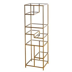 Pemberly Row Glass Shelf Bookcase in Gold