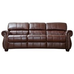 Pemberly Row Leather Sofa in Burgundy