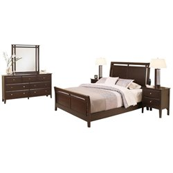 MER-1396 5 Piece Sleigh Bedroom Set in Espresso