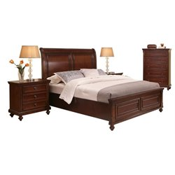 MER-1396 4 Piece Panel Bedroom Set in Brown