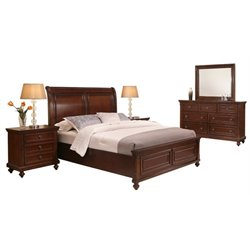 MER-1396 5 Piece Panel Bedroom Set in Brown