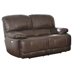 Pemberly Row Leather Power Reclining Loveseat in Brown