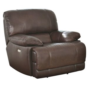 Pemberly Row Leather Power Recliner in Brown