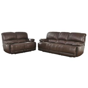 MER-1396 Leather Power Reclining Sofa Set in Dark Brown