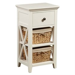 Pemberly Row 2 Basket Storage Rack in White