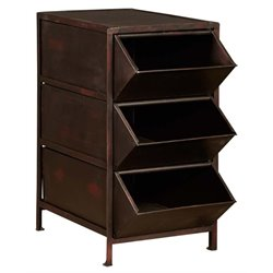 Pemberly Row Metal Open Drawer Storage Rack in Distressed Brown