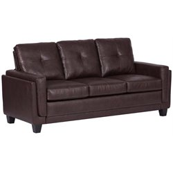 Pemberly Row Modern Faux Leather Sofa in Chocolate Brown