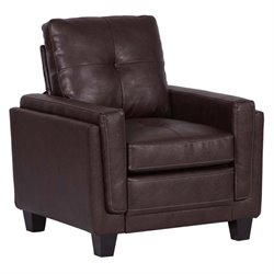 Pemberly Row Modern Faux Leather Accent Chair in Chocolate Brown
