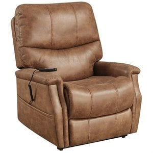 Pemberly Row Faux Leather Dual Motor Lift Recliner in Saddle Brown