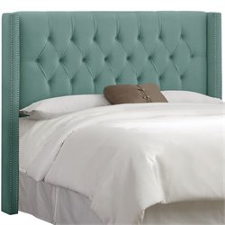 MER-1396 Upholstered Tufted Panel Headboard in Caribbean