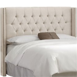 MER-1396 Upholstered Tufted Panel Headboard in Talc