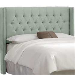 MER-1396 Upholstered Tufted Panel Headboard in Swedish Blue