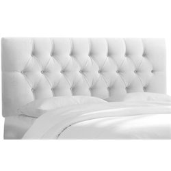 MER-1396 Upholstered Tufted Panel Headboard in White 4