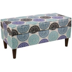 Pemberly Row Storage Bedroom Bench in Pen Medallion Blue