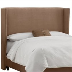 MER-1396 Upholstered Wingback Panel Headboard in Cocoa