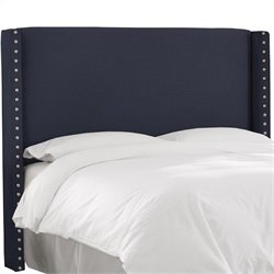 MER-1396 Upholstered Wingback Panel Headboard in Navy