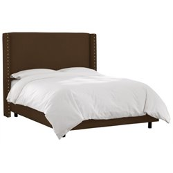 MER-1396 Upholstered Panel Bed in Chocolate 4